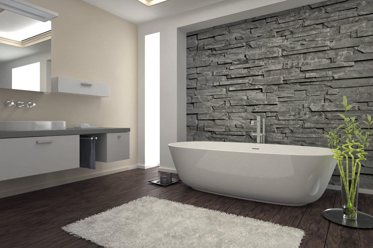badkamerrenovatie steenbehang